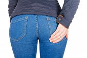 picture of hot pants  - Back of the chic girl in jeans - JPG