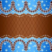 Brown & blue background inspired by Indian mehndi designs