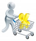 picture of apr  - A person pushing a shopping cart or trolley with a large percent sign in it - JPG