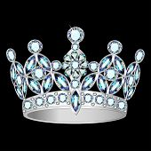 picture of crown jewels  - illustration women silver crown on a black background - JPG