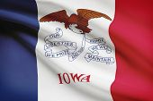 Series Of Ruffled Flags. State Of Iowa.