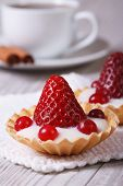 Tartlets With Strawberries, Cranberries And Cream Vertical