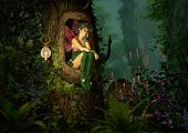 pic of pixie  - 3D computer graphics of a fairy with a wreath on her head sitting in a knothole of a tree - JPG
