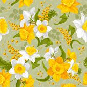 stock photo of daffodils  - Retro flower seamless pattern  - JPG