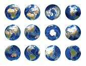 picture of longitude  - Earth globe from different angles showing all continents - JPG