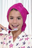 Brushing Teeth In Bath Robe