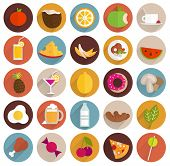 Food and Drinks Flat Design Icons Set. Vegetables and Fruits, Meat, Cocktails, Milk, Juices and Smoo