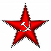 image of communist symbol  - Communist red star with hammer and sickle on white - JPG