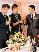 foto of bachelor party  - Group men people at stage party before wedding - JPG