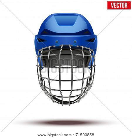Classic blue Goalkeeper Ice Hockey Helmet isolated on Background. Vector.