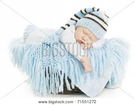Baby Newborn Portrait, Boy Kid New Born Sleeping In Blue Hat, Child Isolated Over White Background