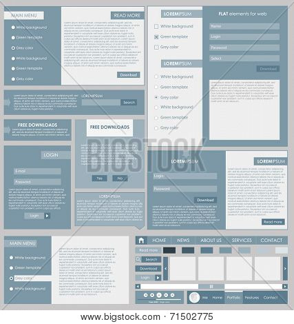Set: forms and design element for web in flat design. new vector