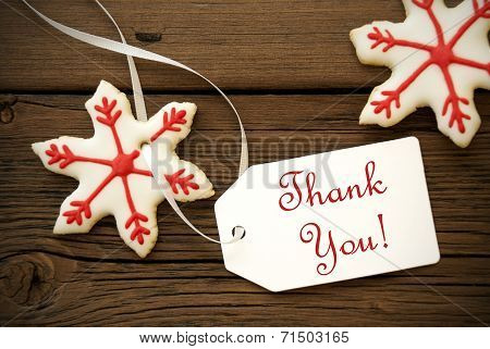 Christmas Star Cookies With Thank You Label