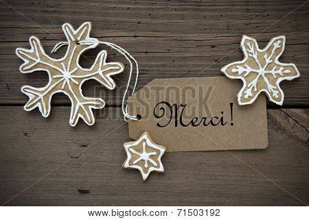 Merci Label With Ginger Bread Snowflakes