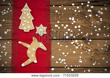 Ginger Bread Background With Snow