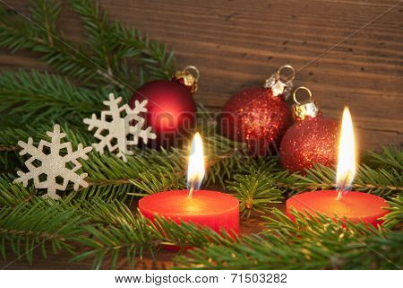 Red Burning Candles With Christmas Decoration