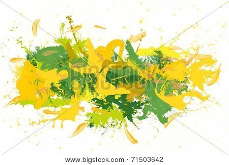 Green and yellow spatters.
