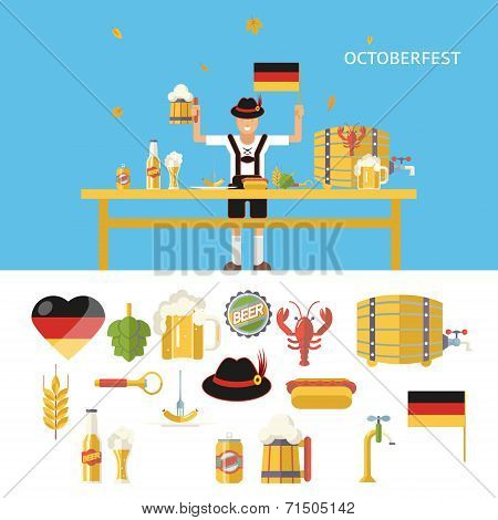 Retro Octoberfest Symbols Beer Alcohol Accessories Icons Set Trendy Modern Flat Design Template Vect
