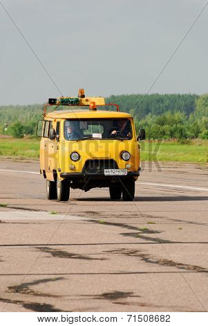 NIZHNY NOVGOROD. RUSSIA. JULY 31, 2014. STRIGINO AIRPORT.Car of technical service of the airport.