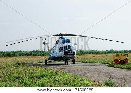 NIZHNY NOVGOROD. RUSSIA. JULY 31, 2014. STRIGINO AIRPORT.Gazpromavia company MI-8 helicopter