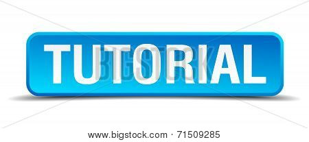 Tutorial Blue 3D Realistic Square Isolated Button