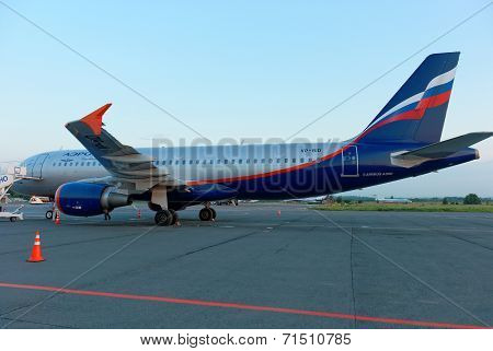 NIZHNY NOVGOROD. RUSSIA. JULY 31, 2014. STRIGINO AIRPORT.The Airbus-320 plane on an airfield.