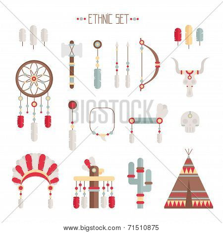 Vector colorful ethnic set with dream catcher, feathers, arrows and american indian chief headdress