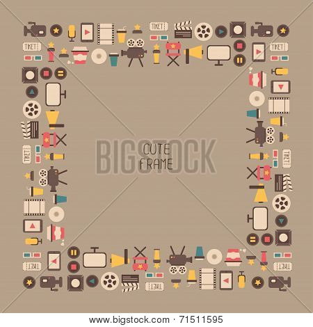 Frame of movie design elements and cinema icons in flat style. Vector illustration.