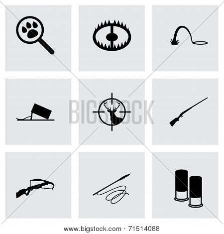 Vector black hunting icons set