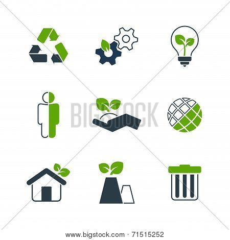Ecology simple vector icon set