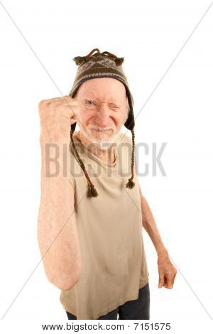 Senior Man In Knit Cap Shaking Fist