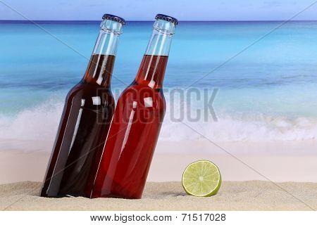 Cola And Lemonade Soda Drink On The Beach