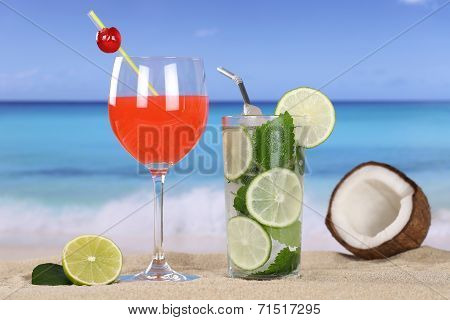 Cocktails And Drinks On The Beach With Sand
