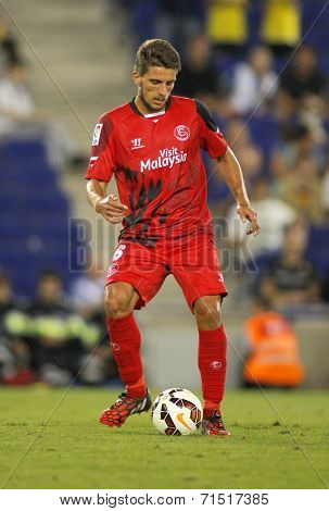 BARCELONA - AUG, 30: Daniel Carri�?�§o of Sevilla FC during spanish league match against Espanyol at the Estadi Cornella on August 30, 2014 in Barcelona, Spain