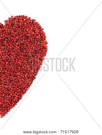 Red pepper in shape of heart half.