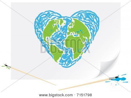 Drawing Green Earth Blue Heart