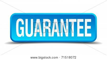 Guarantee Blue 3D Realistic Square Isolated Button