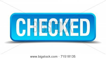 Checked Blue 3D Realistic Square Isolated Button