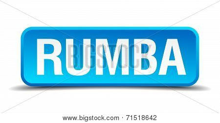 Rumba Blue 3D Realistic Square Isolated Button