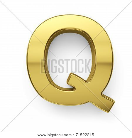 3D Render Of Golden Alphabet Letter Simbol - Q