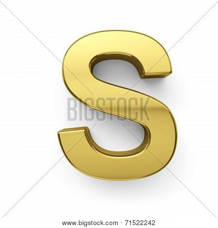 3D Render Of Golden Alphabet Letter Simbol - S