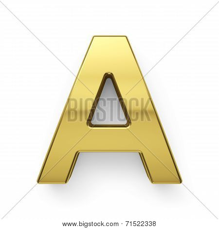 3D Render Of Golden Alphabet Letter Simbol - A
