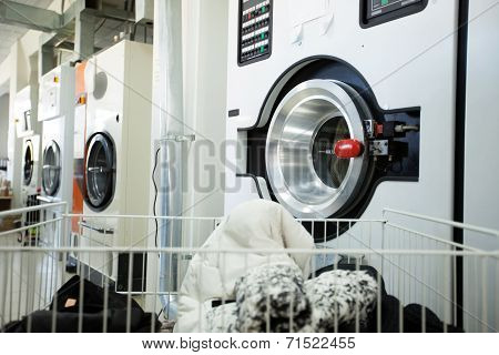 Modern washing machines in laundry room