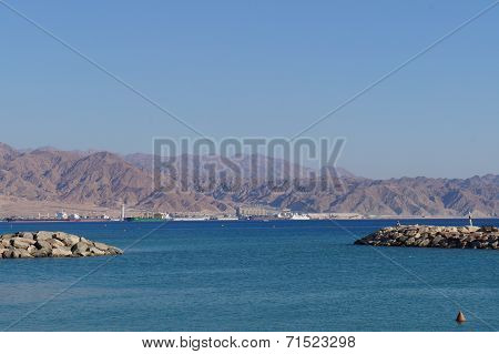 View to Eilat gulf and Aqaba