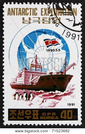 Postage Stamp North Korea 1991 Research Ship