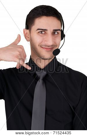 Call Center Man with Headset Isolated on White