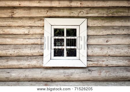 Old Wooden House Wall With Small Window, Background Texture