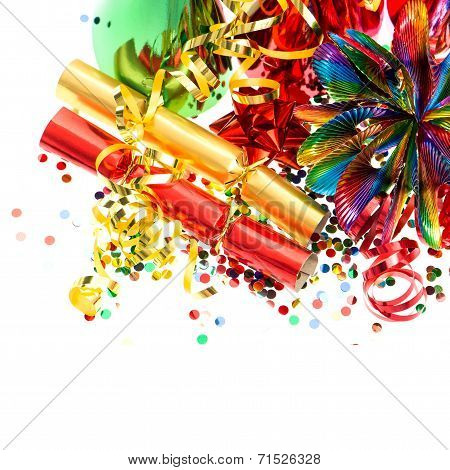 Colorful Party Garlands, Streamer And Confetti