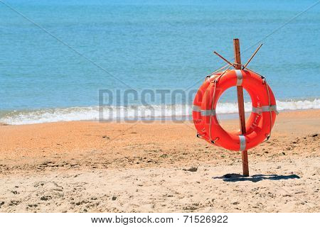 lifebuoy on a beach