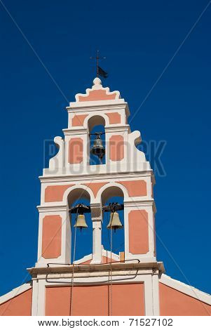 Church Bell Hanging From Arch Of Bell Tower, Fiskardo Kefallonia Greece